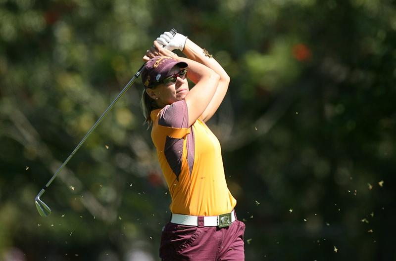 GUADALAJARA, MX - NOVEMBER 16: Annika Sorenstam of Sweden hits her second shot on the 5th hole during the final round of the Lorena Ochoa Invitational at Guadalajara Country Club on November 16, 2008 in Guadalajara, Mexico. (Photo by Hunter Martin/Getty Images)