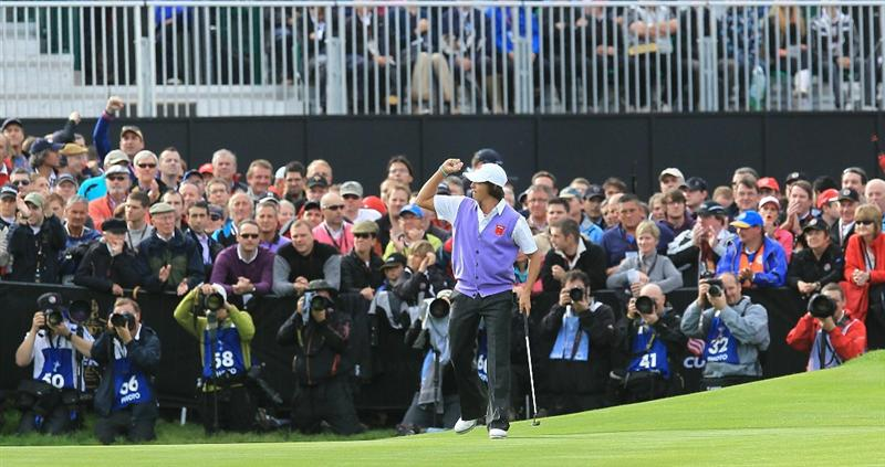 NEWPORT, WALES - OCTOBER 02:  Rickie Fowler of the USA celebrates holing a putt on the 18th green to halve his match during the rescheduled Afternoon Foursome Matches during the 2010 Ryder Cup at the Celtic Manor Resort on October 2, 2010 in Newport, Wales.  (Photo by David Cannon/Getty Images)