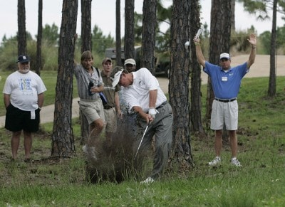 Bobby Wadkins plays from the trees on the 15th hole during the third and final round of the Boeing Championship at Sandestin at Raven Golf Club in Destin, Florida on May 14, 2006.Photo by Michael Cohen/WireImage.com