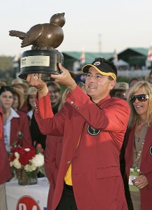 Ben Curtis holds the trophy after winning the 84 LUMBER Classic held on the Mystic Rock Course at Nemacolin Woodlands Resort & Spa in Farmington, Pennsylvania, on September 17, 2006.Photo by Hunter Martin/WireImage.com