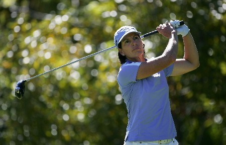DANVILLE, CA - OCTOBER 7:  Juli Inkster makes a tee shot on the eighth hole during the final round of the LPGA Longs Drugs Challenge at the Blackhawk Country Club October 7, 2007 in Danville, California.  (Photo by Robert Laberge/Getty Images)