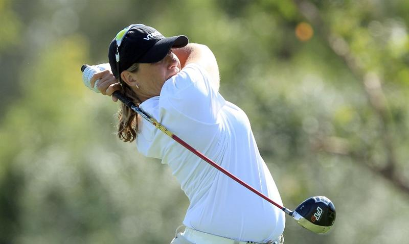 RANCHO MIRAGE, CA - APRIL 02:  Karen Stupples of England tees off from the third tee during the second round of the 2010 Kraft Nabisco Championship, on the Dinah Shore Course at The Mission Hills Country Club, on April 2, 2010 in Rancho Mirage, California.  (Photo by David Cannon/Getty Images)