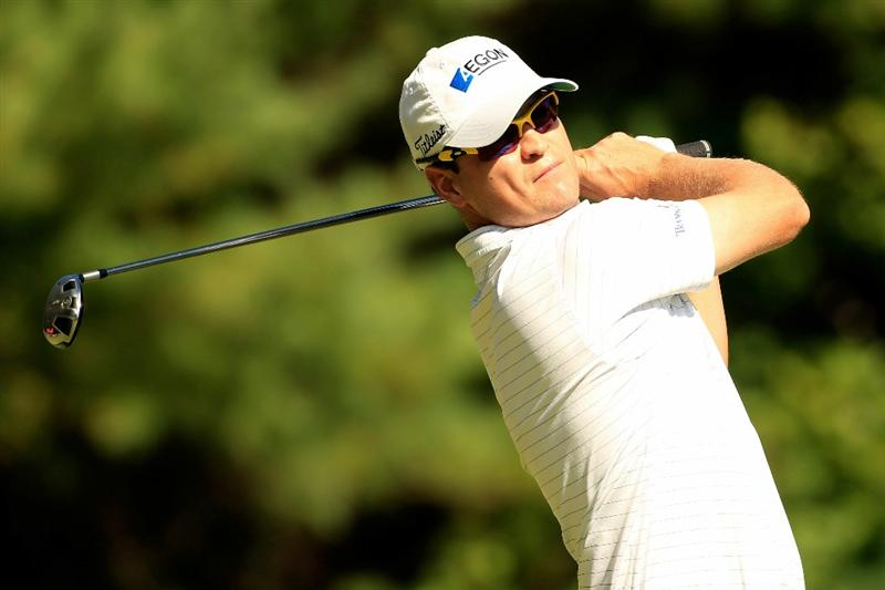 NORTON, MA - SEPTEMBER 04:  Zach Johnson hits a shot on the 11th tee during the second round of the Deutsche Bank Championship at TPC Boston on September 4, 2010 in Norton, Massachusetts.  (Photo by Michael Cohen/Getty Images)