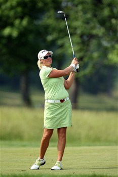 HAVRE DE GRACE, MD - JUNE 08: Maria Hjorth of Sweden hits her third shot at the 11th hole during the final round of the 2008 McDonald's LPGA Championship held at Bulle Rock Golf Course, on June 8, 2008 in Havre de Grace, Maryland. (Photo by David Cannon/Getty Images)