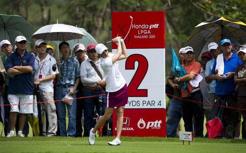 CHON BURI, THAILAND - FEBRUARY 20:  Stacy Prammanasudh of USA tees off on the 2nd hole during round three of the Honda PTT LPGA Thailand at Siam Country Club on February 20, 2010 in Chon Buri, Thailand.  (Photo by Victor Fraile/Getty Images)