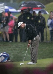 Jeff Sluman putting on the ninth green during the first round for THE PLAYERS Championship held at the TPC Stadium Course in Ponte Vedra Beach, Florida on March 23, 2006.Photo by Chris Condon/PGA TOUR/WireImage.com