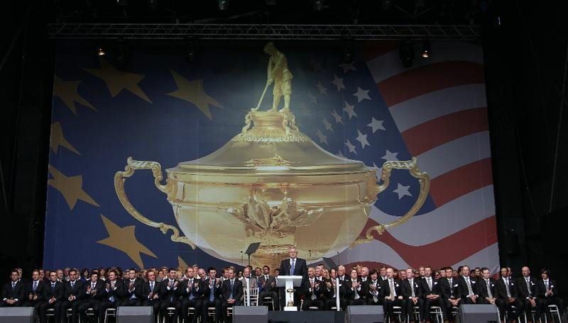 NEWPORT, WALES - SEPTEMBER 30:  General View as Europe Team Captain Colin Montgomerie speaks during the Opening Ceremony prior to the 2010 Ryder Cup at the Celtic Manor Resort on September 30, 2010 in Newport, Wales.  (Photo by Ross Kinnaird/Getty Images)