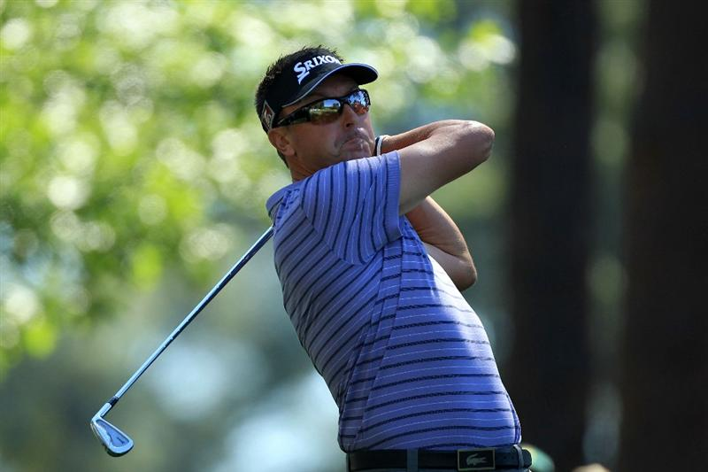 AUGUSTA, GA - APRIL 07:  Robert Allenby of Australia hits a tee shot on the fourth hole during the first round of the 2011 Masters Tournament at Augusta National Golf Club on April 7, 2011 in Augusta, Georgia.  (Photo by David Cannon/Getty Images)