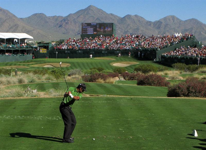 SCOTTSDALE, AZ - FEBRUARY 01:  James Nitties of Australia hits his tee shot on the 16th hole during the final round of the FBR Open on February 1, 2009 at TPC Scottsdale in Scottsdale, Arizona.  (Photo by Stephen Dunn/Getty Images)