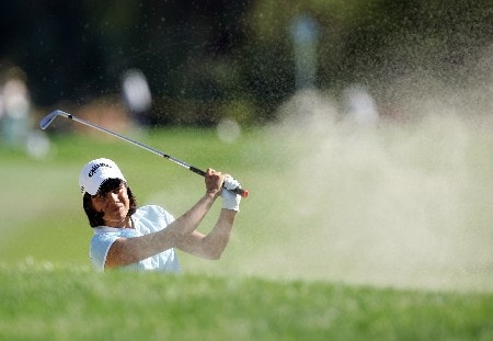 RANCHO MIRAGE, CA - MARCH 30: Julieta Granada of Paraguay hits her second shot at the par 5, 18th hole during the second round of the 2007 Kraft Nabisco Championship held at Mission Hills Country Club on March 30, 2007 in Rancho Mirage, California. (Photo by David Cannon/Getty Images)