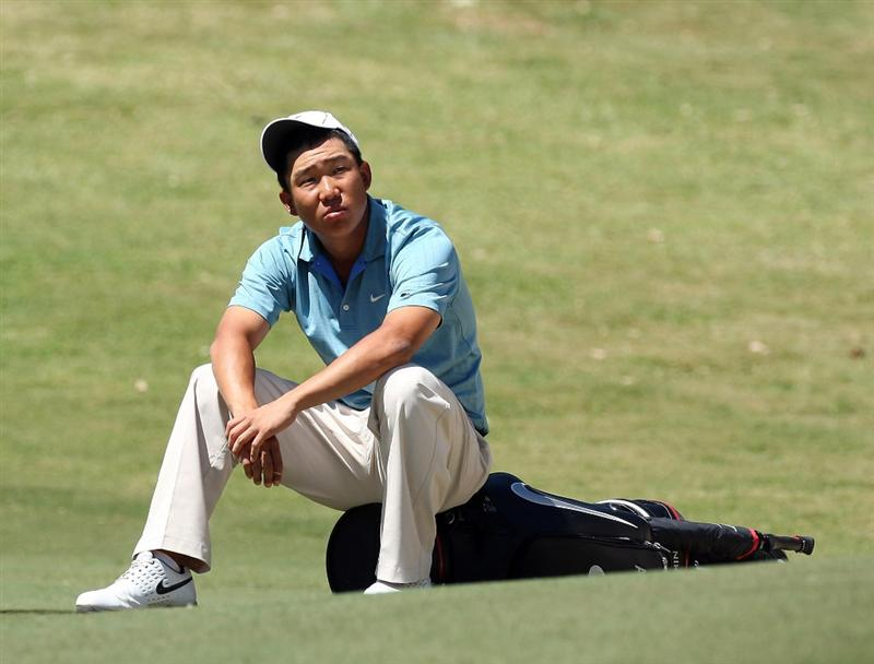 PERTH, AUSTRALIA - FEBRUARY 20:  Anthony Kim of USA waits to play his third shot at the 9th hole during the second round of the 2009 Johnnie Walker Classic tournament at the Vines Resort and Country Club on February 20, 2009, in Perth, Australia  (Photo by David Cannon/Getty Images)