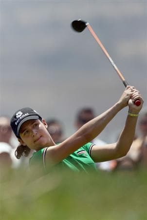 MORELIA, MEXICO- APRIL 26:  Lorena Ochoa of Mexico tees off the 11th hole during the final round of the Corona Championship at the Tres Marias Residential Golf Club on April 26, 2009 in Morelia, Michoacan, Mexico. (Photo by Donald Miralle/Getty Images)
