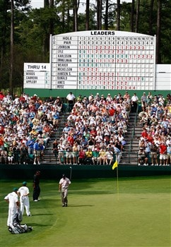 AUGUSTA, GA - APRIL 10:  Tiger Woods celebrates making eagle on the 15th hole during the first round of the 2008 Masters Tournament at Augusta National Golf Club on April 10, 2008 in Augusta, Georgia.  (Photo by Jamie Squire/Getty Images)