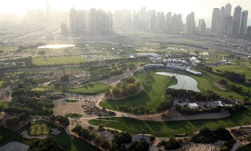 DUBAI, UNITED ARAB EMIRATES - DECEMBER 13:  An aerial view of the club taken from a hot air balloon during the third round of the Dubai Ladies Masters on the Majilis Course at the Emirates Golf Club on December 13, 2008 in Dubai,United Arab Emirates  (Photo by David Cannon/Getty Images)