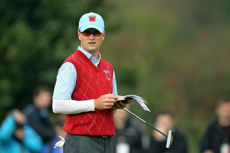 NEWPORT, WALES - SEPTEMBER 28:  Zach Johnson of the USA looks on during a practice round prior to the 2010 Ryder Cup at the Celtic Manor Resort on September 28, 2010 in Newport, Wales.  (Photo by Andy Lyons/Getty Images)