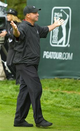 SAN MARTIN, CA - OCTOBER 17:  Rocco Mediate celebrates after winning the Frys.com Open at the CordeValle Golf Club on October 17, 2010 in San Martin, California.  (Photo by Robert Laberge/Getty Images)