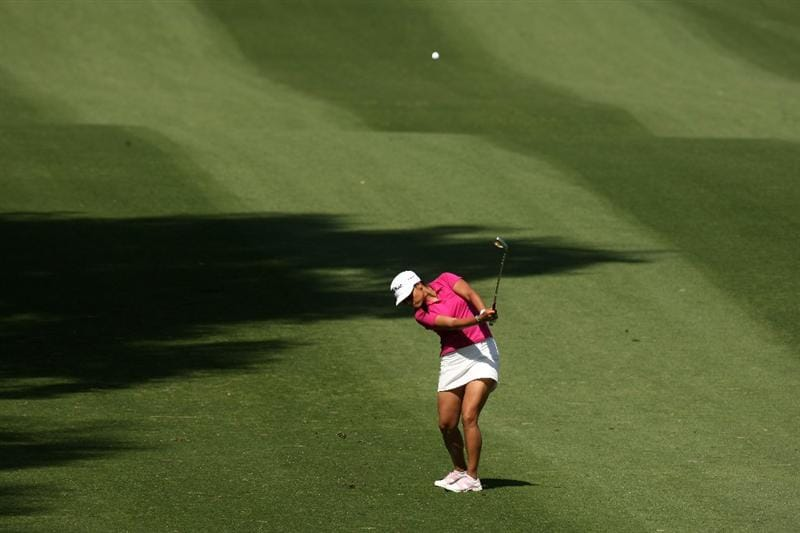 RANCHO MIRAGE, CA - APRIL 04:  Jimin Kang of Korea pitches to the green on the 11th hole during the third round of the Kraft Nabisco Championship at Mission Hills Country Club on April 4, 2009 in Rancho Mirage, California.  (Photo by Stephen Dunn/Getty Images)