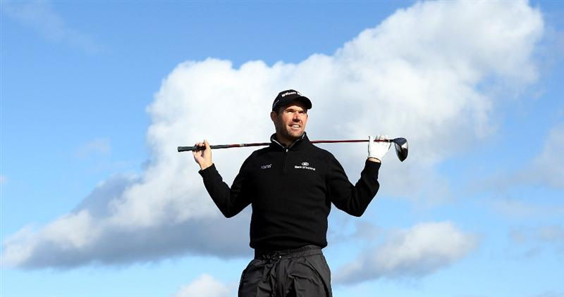 ST. ANDREWS, UNITED KINGDOM - SEPTEMBER 30:  Padraig Harrington of Ireland poses for a photograph on the Swilken Bridge on the 18th hole during the practice round of The Alfred Dunhill Links Championship at The Old Course on September 30, 2008 in St. Andrews, Scotland. (Photo by Warren Little/Getty Images)