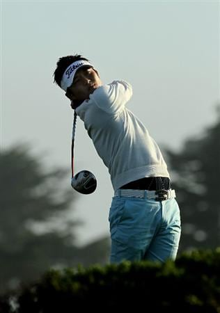 PEBBLE BEACH, CA - FEBRUARY 13:  Ryuji Imada of Japan hits his tee shot on the tenth hole during the third round of the AT&T Pebble Beach National Pro-Am at Monterey Peninsula Country Club on February 13, 2010 in Pebble Beach, California. (Photo by Stephen Dunn/Getty Images)