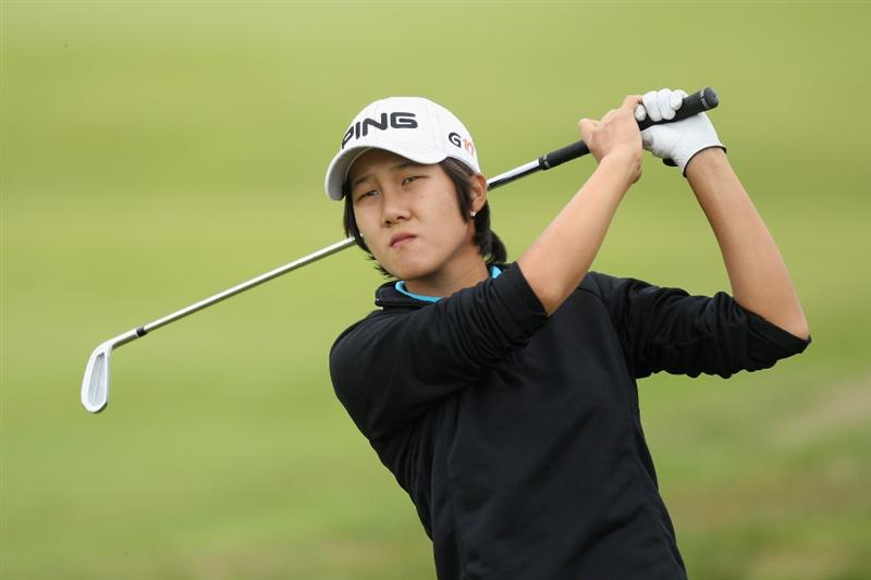 LYTHAM ST ANNES, ENGLAND - AUGUST 01:  Song-Hee Kim of Korea hits her second shot on the 3rd hole during the third round of the 2009 Ricoh Women's British Open Championship held at Royal Lytham St Annes Golf Club, on August 1, 2009 in Lytham St Annes, England.  (Photo by David Cannon/Getty Images)