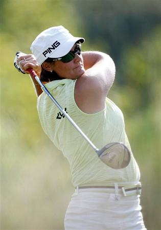DANVILLE, CA - SEPTEMBER 27:  Maria Hjorth of Sweden tees off on the 3rd hole during the final round of the CVS/pharmacy LPGA Challenge at Blackhawk Country Club on September 27, 2009 in Danville, California.  (Photo by Jonathan Ferrey/Getty Images)