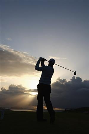 MADEIRA, PORTUGAL - MARCH 19:  Jonathan Caldwell of Northern Ireland tees off from the 1st hole during round one of the Madeira Islands Open BPI  at the Porto Santo Golfe Club on March 19, 2009 in Porto Santo, Portugal.  (Photo by Michael Steele/Getty Images)