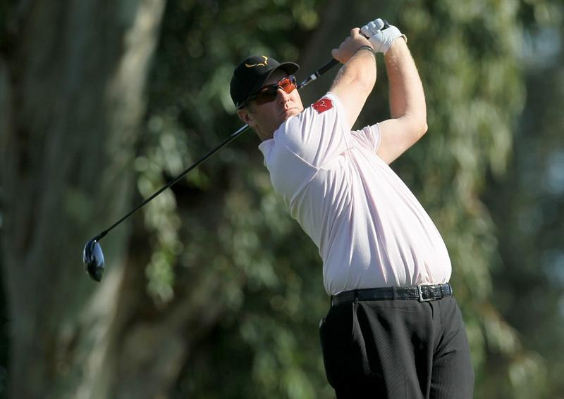 LA QUINTA, CA - JANUARY 20:  David Duval hits his tee shot on the 13th hole during round two of the Bob Hope Classic at the La Quinta Country Club on January 20, 2011 in La Quinta, California.  (Photo by Stephen Dunn/Getty Images)