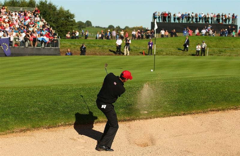 NEWPORT, WALES - OCTOBER 04:  Matt Kuchar of the USA hits from a bunker in the singles matches during the 2010 Ryder Cup at the Celtic Manor Resort on October 4, 2010 in Newport, Wales. (Photo by Richard Heathcote/Getty Images)