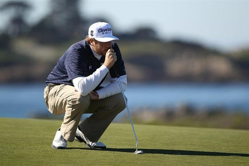 PEBBLE BEACH, CA - FEBRUARY 12:  Steve Marino lines up a putt at the AT&T Pebble Beach National Pro-Am- Round Three at the Monterey Peninsula country club on February 12, 2011 in Pebble Beach, California.  (Photo by Jed Jacobsohn/Getty Images)