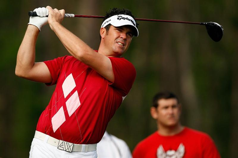 HUMBLE, TX - APRIL 04:  Eric Axley tees off on the 8th hole during a continuation of the second round of the Shell Houston Open at Redstone Golf Club April 4, 2009 in Humble, Texas.  (Photo by Chris Graythen/Getty Images)