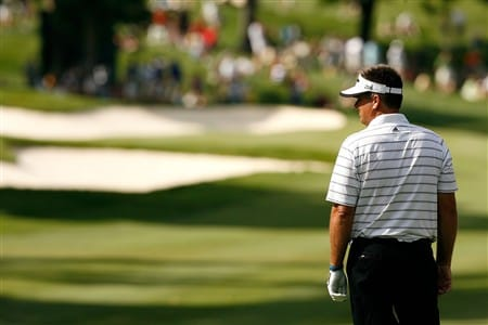 SILVIS, IL - JULY 13:  Kenny Perry waits to play his second shot from the 17th fairway during the final round of the 2008 John Deere Classic at TPC at Deere Run on Sunday, July 13, 2008 in Silvis, Illinois.  (Photo by Kevin C. Cox/Getty Images)