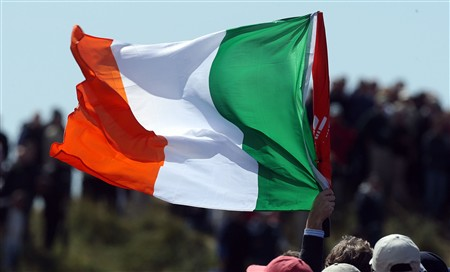 SOUTHPORT, UNITED KINGDOM - JULY 20:  A fan waves a Republic of Ireland flag during the final round of the 137th Open Championship on July 20, 2008 at Royal Birkdale Golf Club, Southport, England.  (Photo by David Cannon/Getty Images)