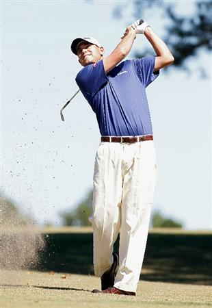 MADISON, MS - OCTOBER 03:  Bill Haas hits his second shot on the fourth fairway during the final round of the Viking Classic held at Annandale Golf Club on October 3, 2010 in Madison, Mississippi.  (Photo by Michael Cohen/Getty Images)