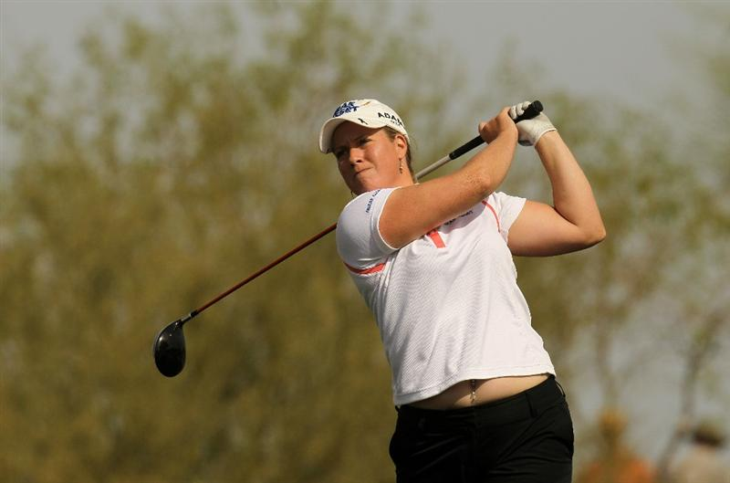 PHOENIX, AZ - MARCH 18: Brittany Lincicome hits her tee shot on the seventh hole during the first round of the RR Donnelley LPGA Founders Cup at Wildfire Golf Club on March 18, 2011 in Phoenix, Arizona. (Photo by Stephen Dunn/Getty Images)