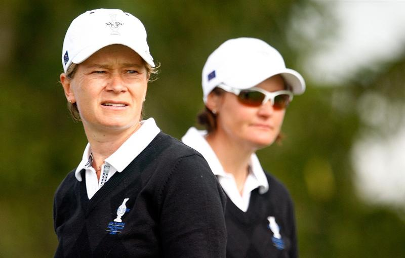 SUGAR GROVE, IL - AUGUST 21:  (L-R) Catriona Matthew and Maria Hjorth of the European Team watch a shot on the second hole during the friday morning fourball matches at the 2009 Solheim Cup at Rich Harvest Farms on August 21, 2009 in Sugar Grove, Illinois.  (Photo by Scott Halleran/Getty Images)