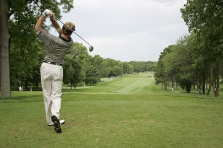 2005 US Bank Championship-Round 3: Brad Faxon tees off on the 13th hole during the 3rd round of the  2005 US Bank Championship at Brown Deer Park in Milwaukee, Wisconsin on July 23, 2005.Photo by Mike Ehrmann/WireImage.com