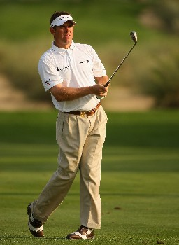 DUBAI, UNITED ARAB EMIRATES - JANUARY 31: Lee Westwood of England watches his second shot on the 16th hole during the first round of the Dubai Desert Classic on the Majilis course at Emirates Golf Club on January 31, 2008 in Dubai, United Arab Emirates. (Photo by Andrew Redington/Getty Images)