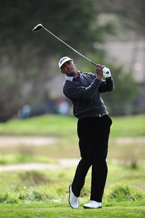 PEBBLE BEACH, CA - FEBRUARY 11:  Vijay Singh of Fiji plays a shot during round one of the AT&T Pebble Beach National Pro-Am at Monterey Peninsula Country Club Shore Course on February 11, 2010 in Pebble Beach, California.  (Photo by Stuart Franklin/Getty Images)