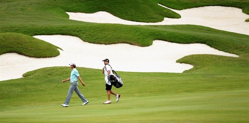 CASARES, SPAIN - MAY 20:  Aaron Baddeley of Australia walks down the third fairway during the group stages of the Volvo World Match Play Championships at Finca Cortesin on May 20, 2011 in Casares, Spain.  (Photo by Warren Little/Getty Images)