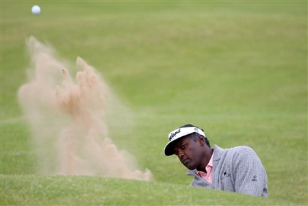 BIRKDALE, UNITED KINGDOM - JULY 14:  Vijay Singh of Fiji plays out from the bunker on the 12th green during the first practice round of the 137th Open Championship on July 14, 2008 at Royal Birkdale Golf Course, England.  (Photo by Stuart Franklin/Getty Images)