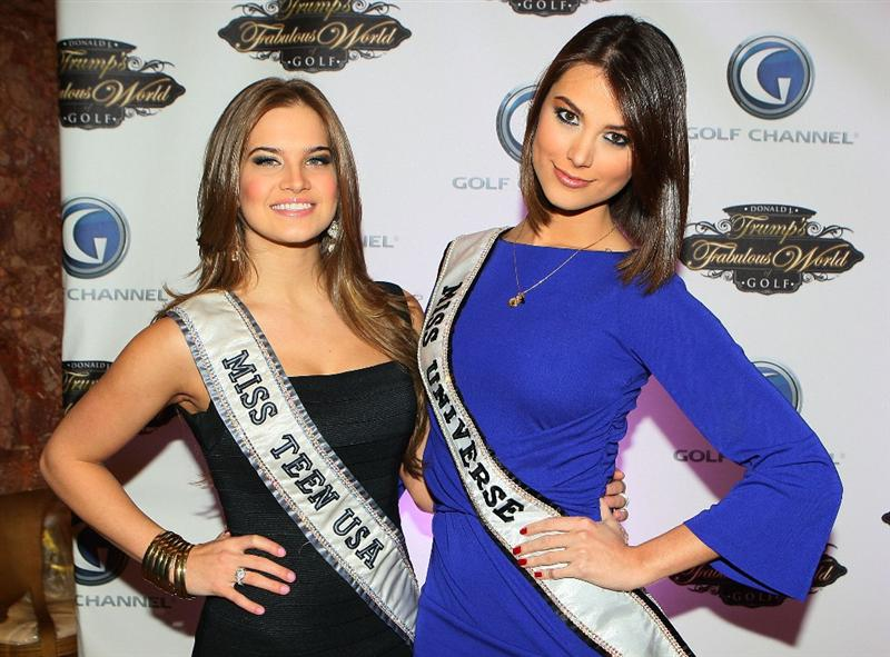 NEW YORK - MARCH 31:  Miss Teen USA Stormi Bree Henley and Miss Universe Stefania Fernandez poses for a photo prior to a special screening of Golf Channel's new celebrity reality series, Donald J Trump's Fabulous World of Golf on March 31, 2010 at Trump Towers in New York, New York.  (Photo by Mike Stobe/Getty Images for Golf Channel)