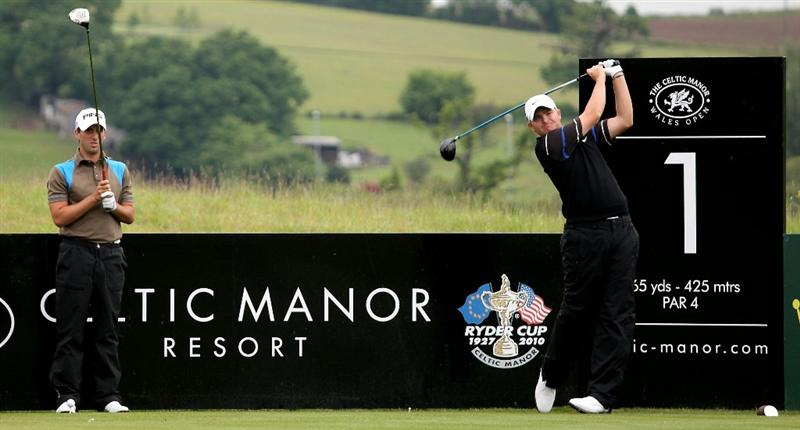 NEWPORT, WALES - JUNE 01:  James Morrison of England during a practice round prior to the Celtic Manor Wales Open on the '2010 Course' at the Celtic Manor Resort on June 1, 2010 in Newport, Wales.  (Photo by Ross Kinnaird/Getty Images)