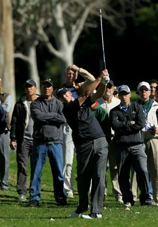 PACIFIC PALISADES, CA - FEBRUARY 17:  Steve Stricker hits his second shot from the rough on the 12th hole during round one of the Northern Trust Open at Riviera Counrty Club on February 17, 2011 in Pacific Palisades, California.  (Photo by Stephen Dunn/Getty Images)