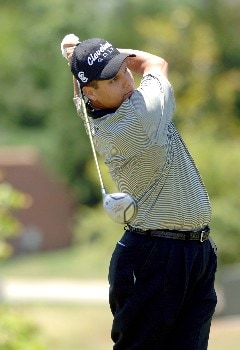 Omar Uresti tees off during Round One of The Fedex St. Jude Classic at TPC at Southwind in Memphis, Tennessee on May 26, 2005.Photo by Joe Murphy/WireImage.com