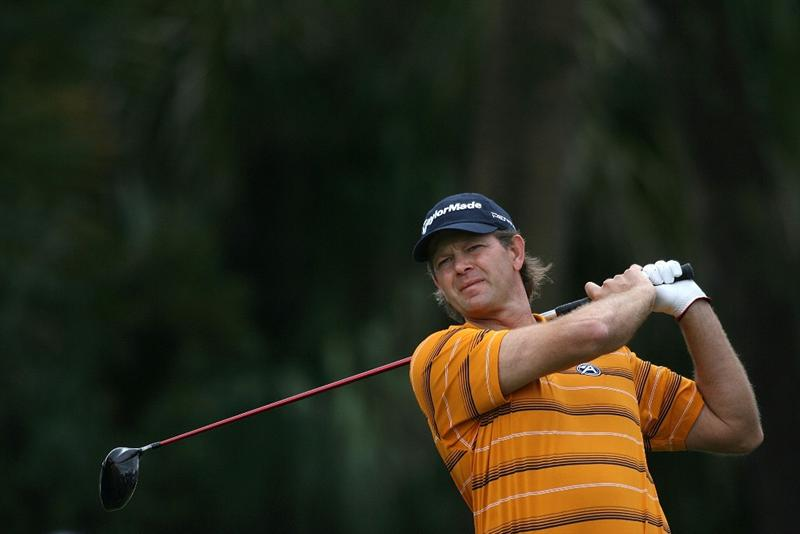 DORAL, FL - MARCH 11:  Retief Goosen of South Africa plays a shot on the during round one of the 2010 WGC-CA Championship at the TPC Blue Monster at Doral on March 11, 2010 in Doral, Florida.  (Photo by Marc Serota/Getty Images)