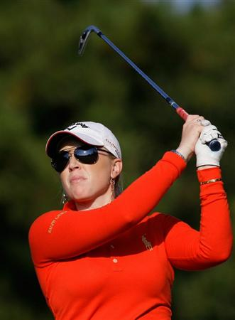 SHIMA, JAPAN - NOVEMBER 06:  Morgan Pressel of United States plays a shot on the 17th hole during round two of the Mizuno Classic at Kintetsu Kashikojima Country Club on November 6, 2010 in Shima, Japan.  (Photo by Chung Sung-Jun/Getty Images)