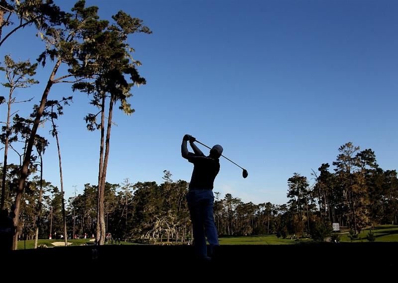 PEBBLE BEACH, CA - FEBRUARY 11:  D.A. Points tees off from the 11th hole at the AT&T Pebble Beach National Pro-Am- Round Two at the Spyglass golf club on February 11, 2011 in Pebble Beach, California.  (Photo by Jed Jacobsohn/Getty Images)