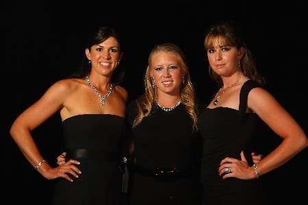 SINGAPORE - FEBRUARY 27:  From left to right: Nicole Castrale, Morgan Pressel and Paula Creamer of USA pose for a photograph during the Welcome Party prior to the start of the HSBC Women's Champions at Tanah Merah Country Club on February 27, 2008 in Singapore.  (Photo by Scott Halleran/Getty Images)