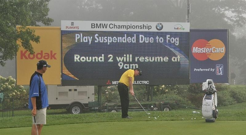 ST. LOUIS - SEPTEMBER 6: Phil Mickelson practices during fog delay of  the second round of the BMW Championship held at Bellerive Country Club on September 5, 2008 in St. Louis, Missouri. (Photo by Marc Feldman-Getty Images)