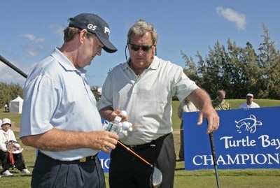Bob Gilder chats with Fuzzy Zoeller during the first round of the 2007 Turtle Bay Championship held on the Palmer Course at Turtle Bay Resort in Kahuku, Oahu, Hawaii, on January 26, 2007. Photo by: Chris Condon/PGA TOURPhoto by: Chris Condon/PGA TOUR